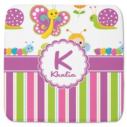 """Butterflies & Stripes Memory Foam Bath Mat - 48""""x48"""" (Personalized)"""