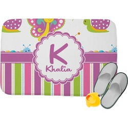 Butterflies & Stripes Memory Foam Bath Mat (Personalized)