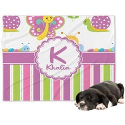 Butterflies & Stripes Minky Dog Blanket - Large  (Personalized)