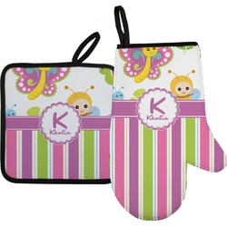 Butterflies & Stripes Oven Mitt & Pot Holder (Personalized)