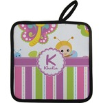 Butterflies & Stripes Pot Holder w/ Name and Initial