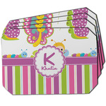 Butterflies & Stripes Dining Table Mat - Octagon w/ Name and Initial