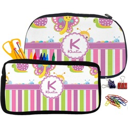 Butterflies & Stripes Pencil / School Supplies Bag (Personalized)