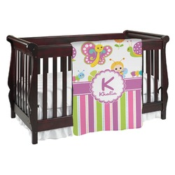 Butterflies & Stripes Baby Blanket (Personalized)