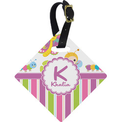 Butterflies & Stripes Diamond Luggage Tag (Personalized)
