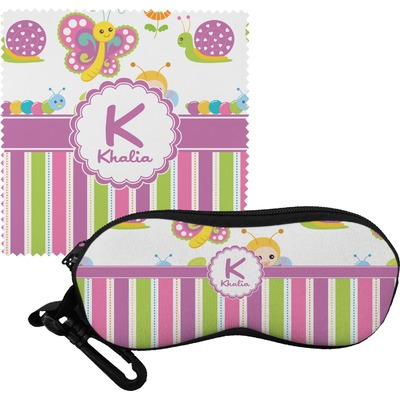 Butterflies & Stripes Eyeglass Case & Cloth (Personalized)