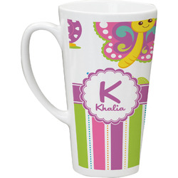 Butterflies & Stripes Latte Mug (Personalized)