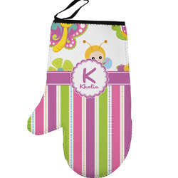 Butterflies & Stripes Left Oven Mitt (Personalized)