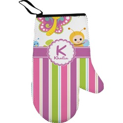 Butterflies & Stripes Right Oven Mitt (Personalized)