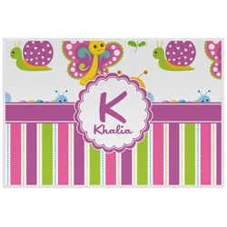 Butterflies & Stripes Laminated Placemat w/ Name and Initial