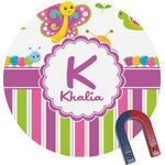 Butterflies & Stripes Round Magnet (Personalized)