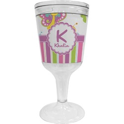 Butterflies & Stripes Wine Tumbler - 11 oz Plastic (Personalized)