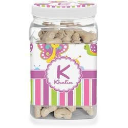 Butterflies & Stripes Dog Treat Jar (Personalized)