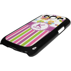 Butterflies & Stripes Plastic Samsung Galaxy 3 Phone Case (Personalized)