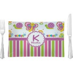 Butterflies & Stripes Glass Rectangular Lunch / Dinner Plate - Single or Set (Personalized)
