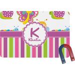 Butterflies & Stripes Rectangular Fridge Magnet (Personalized)