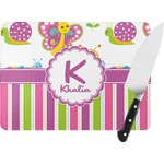 Butterflies & Stripes Rectangular Glass Cutting Board (Personalized)