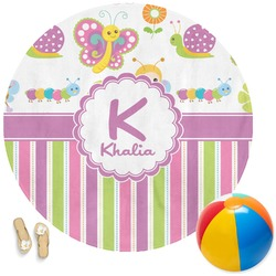 Butterflies & Stripes Round Beach Towel (Personalized)