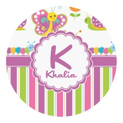Butterflies & Stripes Round Decal - Small (Personalized)