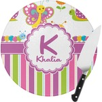 Butterflies & Stripes Round Glass Cutting Board (Personalized)