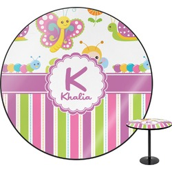 """Butterflies & Stripes Round Table - 24"""" (Personalized)"""