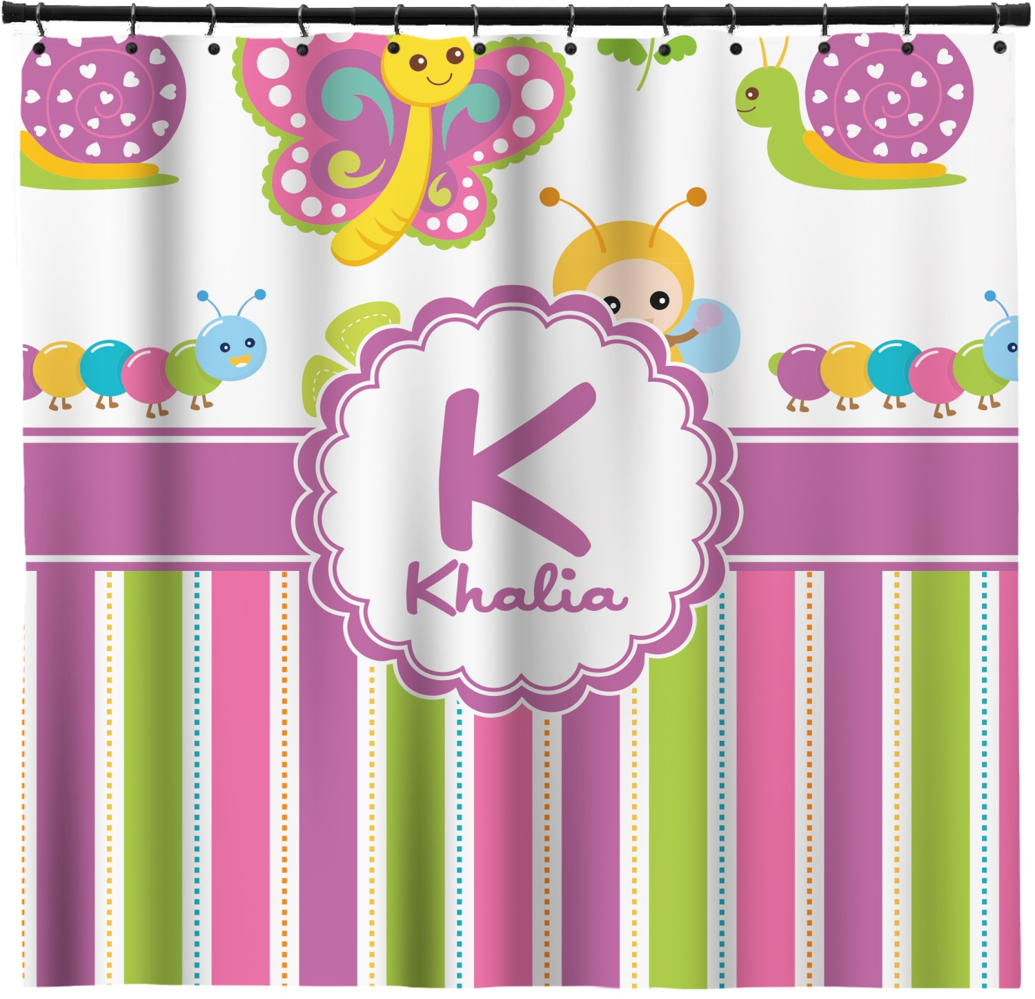 Butterflies Stripes Shower Curtain Personalized