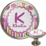 Butterflies & Stripes Cabinet Knob (Silver) (Personalized)