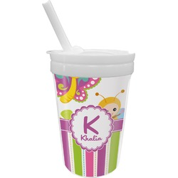 Butterflies & Stripes Sippy Cup with Straw (Personalized)