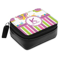 Butterflies & Stripes Small Leatherette Travel Pill Case (Personalized)