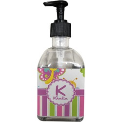 Butterflies & Stripes Soap/Lotion Dispenser (Glass) (Personalized)
