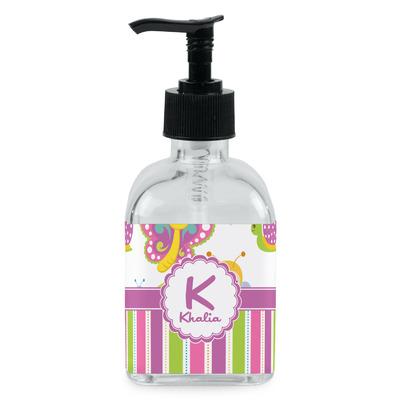 Butterflies & Stripes Soap/Lotion Dispenser (Glass) (Personalized)