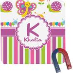 Butterflies & Stripes Square Fridge Magnet (Personalized)