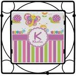 Butterflies & Stripes Square Trivet (Personalized)