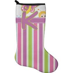 Butterflies & Stripes Christmas Stocking - Neoprene (Personalized)