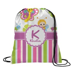 Butterflies & Stripes Drawstring Backpack (Personalized)