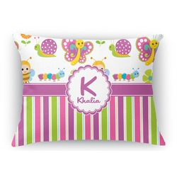 Butterflies & Stripes Rectangular Throw Pillow Case (Personalized)