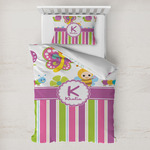 Butterflies & Stripes Toddler Bedding w/ Name and Initial