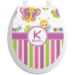 Butterflies & Stripes Toilet Seat Decal (Personalized)