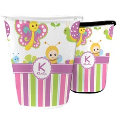 Butterflies & Stripes Waste Basket (Personalized)