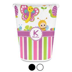 Butterflies & Stripes Waste Basket (Personalized)