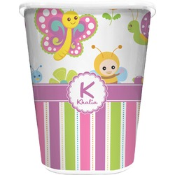 Butterflies & Stripes Waste Basket - Single Sided (White) (Personalized)