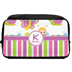 Butterflies & Stripes Toiletry Bag / Dopp Kit (Personalized)