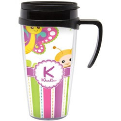 Butterflies & Stripes Travel Mug with Handle (Personalized)