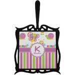 Butterflies & Stripes Trivet with Handle (Personalized)