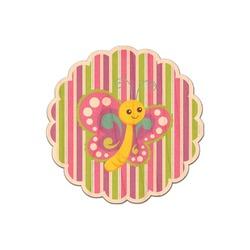 Butterflies & Stripes Genuine Wood Sticker (Personalized)