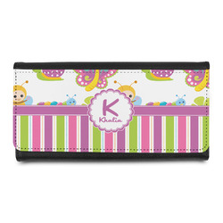 Butterflies & Stripes Leatherette Ladies Wallet (Personalized)