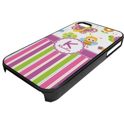 Butterflies & Stripes Plastic 4/4S iPhone Case (Personalized)