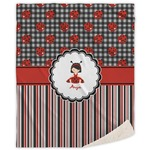 Ladybugs & Stripes Sherpa Throw Blanket (Personalized)