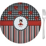 "Ladybugs & Stripes Glass Appetizer / Dessert Plates 8"" - Single or Set (Personalized)"