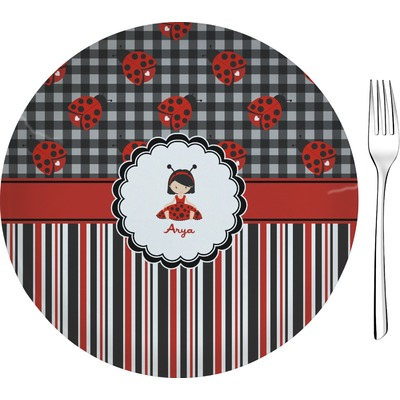 "Ladybugs & Stripes 8"" Glass Appetizer / Dessert Plates - Single or Set (Personalized)"